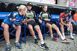 Hayley Simmonds (GBR) of Team WNT chats to Elizabeth Banks (GBR) of Storey Racing after Stage 3 of the Lotto Thuringen Ladies Tour - a 124 km road race, starting and finishing in Weimar on July 15, 2017, in Thuringen, Germany. (Photo by Balint Hamvas/Velofocus.com)