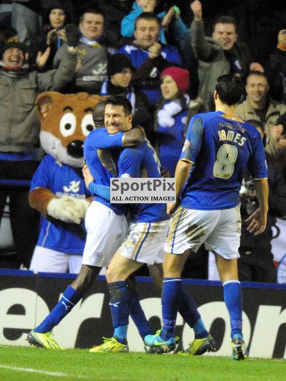 David Nugent Celebrates after scoring Leicesters 3rd Goal from the Penalty Spot, Leicester City, Leicester City v Derby, Sky Bet Championship, Friday 10th January 2014