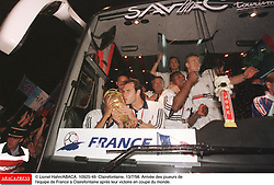 ©Lionel Hahn/ABACA.10925.49.Paris-France,12/07/ 1998. France made soccer history here on Sunday night, when the underdogs beat defending champions Brazil 3-0 to win the last World Cup this century before a delirious crowd of 80,000 people.