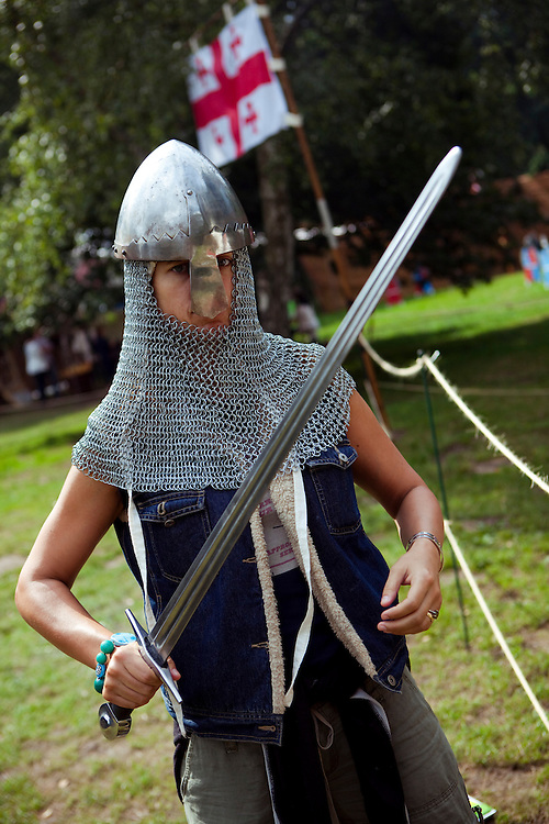 Antonia in chain mail, Sherwood Forest, Nottinghamshire