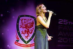 CARDIFF, WALES - Monday, October 5, 2015: Sophie Evans performs during the FAW Awards Dinner at Cardiff City Hall. (Pic by Ian Cook/Propaganda)