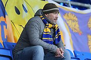 Disappointed Shrewsbury Town fan after seeing his side concede a late equaliser during the The FA Cup fourth round match between Shrewsbury Town and Wolverhampton Wanderers at Greenhous Meadow, Shrewsbury, England on 26 January 2019.