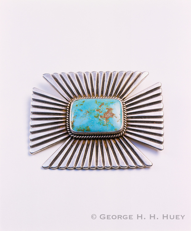 0196-1001 ~ Copyright: George H. H. Huey ~ Silver pin with Turquoise. Artist: Perry Shorty. Navajo Indian, 1998, Arizona.