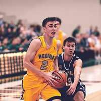 4th year guard, Samuel Hillis (2) of the Regina Cougars during the Men's Basketball Home Game on Fri Nov 02 at Centre for Kinesiology,Health and Sport. Credit: Arthur Ward/Arthur Images