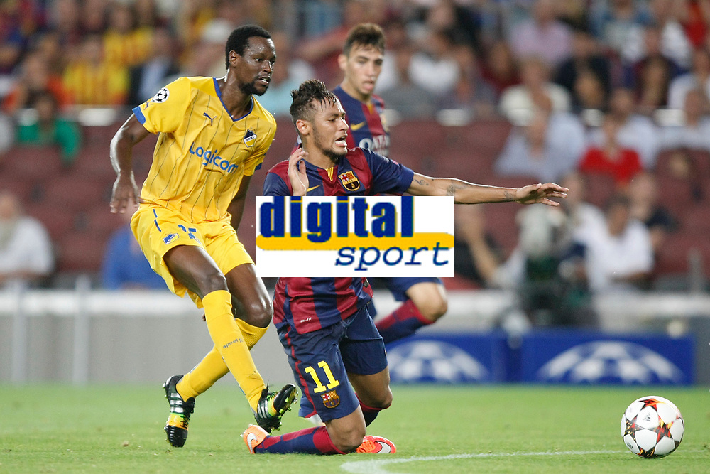 Neymar of Barcelona and Vinicius of Apoel during the UEFA Champions League, Group F, football match between FC Barcelona and Apoel FC on September 17, 2014 at Camp Nou stadium in Barcelona, Spain. Photo Bagu Blanco / DPPI