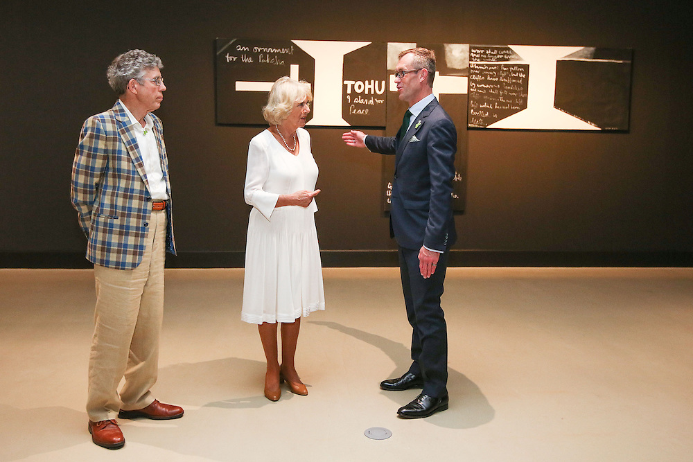 Camilla, Duchess of Cornwall speaks to Director of Govett-Brewster Gallery and Len Lye Centre, Simon Rees, right and Len Lye Foundation Chairman, John Matthews, during a visit to the Len Lye Centre , New Plymouth, New Zealand, New Zealand, Monday, November 09, 2015. Credit:SNPA / Getty, Hagen Hopkins  **POOL**