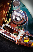 Image detail of a Volkswagen bus headlight at the Bug-In in Fontana, California, America west coast