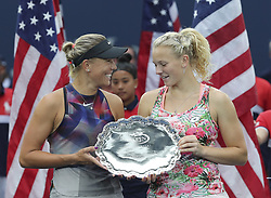 NEW YORK, Sept. 11, 2017  Lucie Hradecka (L) and Katerina Siniakova of the Czech Republic hold the trophy during the awarding ceremony of the women's doubles match at the 2017 US Open in New York, the United States, Sept. 10, 2017. Lucie Hradecka and Katerina Siniakova lost 0-2 to Yung-Jan Chan and Martina Hingis in the final match. (Credit Image: © Wang Ying/Xinhua via ZUMA Wire)