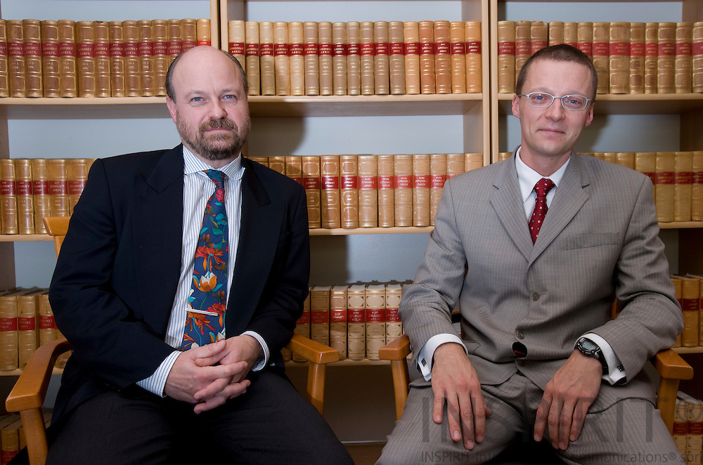 BRUSSELS - BELGIUM - 16 OCTOBER 2007 -- From left Martin JOHANSSON, lawyer in Brussels and Mattias GANSLANDT, head of CELEC, Centre for European Law and Economics. Photo: Erik Luntang
