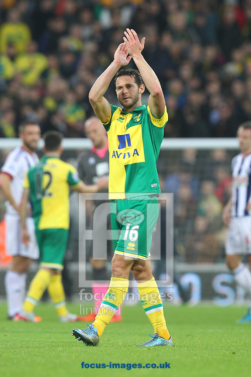 Matt Jarvis of Norwich applauds the fans at the end of the Barclays Premier League match at Carrow Road, Norwich<br /> Picture by Paul Chesterton/Focus Images Ltd +44 7904 640267<br /> 24/10/2015