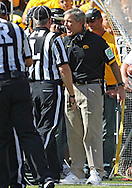 September 29 2012: Iowa Hawkeyes head coach Kirk Ferentz yells at an official during the first quarter of the NCAA football game between the Minnesota Golden Gophers and the Iowa Hawkeyes at Kinnick Stadium in Iowa City, Iowa on Saturday September 29, 2012. Iowa defeated Minnesota 31-13 to claim the Floyd of Rosedale Trophy.