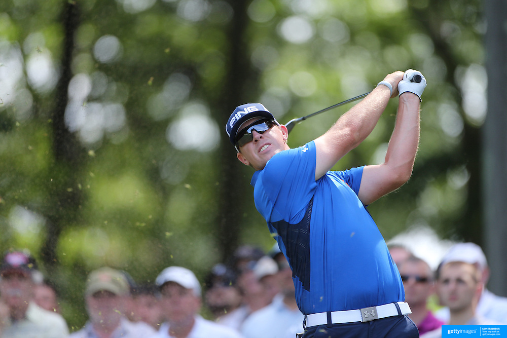 Hunter Mahan, USA, in action during the second round of the Travelers Championship at the TPC River Highlands, Cromwell, Connecticut, USA. 20th June 2014. Photo Tim Clayton