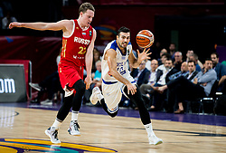 Dmitrii Kulagin of Russia vs Kostas Sloukas of Greece during basketball match between National Teams of Greece and Russia at Day 14 in Round of 16 of the FIBA EuroBasket 2017 at Sinan Erdem Dome in Istanbul, Turkey on September 13, 2017. Photo by Vid Ponikvar / Sportida