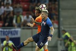 (L-R) Daley Blind of Holland, Juraj Kucka of Slovakia during  the International friendly match between Slovakia and The Netherlands at Stadium Antona Malatinskeho on May 31, 2018 in Trnava, Slovakia
