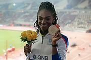 Dina Asher-Smith (Great Britain), Winner, Gold Medal, 200 Metres Women, during the 2019 IAAF World Athletics Championships at Khalifa International Stadium, Doha, Qatar on 2 October 2019.
