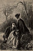 Felix with Esther, heroine of the novel.  Esther for love of Felix renounces her claim to the Transome estate. 'Felix Holt the Radical' novel set in the period of the Reform Act (1832) by George Eliot (pseudonym of Mary Ann, or Marian, Evans), first published London, 1866.  Illustration by John Jellicoe (active1865-1903) for an edition of 1880.  Engraving.