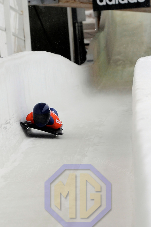 14 December 2007:  Amy Williams of Great Britain  competes at the FIBT World Cup Women's skeleton competition on December 14, 2007 at the Olympic Sports Complex in Lake Placid, NY.  Wiliams finished in sixth place in the race which was won by Katie Uhlander of the United States.