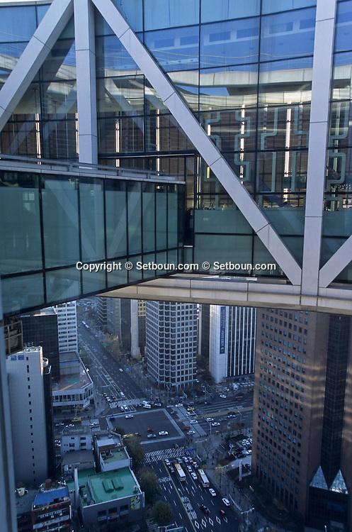 seoul view from the Jungno tower, new futuristic tower in the center of  seoul  Korea   seoul vue du haut de la tour Jungno  la nouvelle tour futuriste du centre  seoul  coree  ///R20135/    L0006922  /  P105179