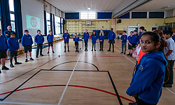 EMBARGOED until 00.01 Friday 13 March 2020. Davidsons Mains Primary School, Edinburgh, Scotland, United Kingdom: Sport Relief Funding. On Sport Relief Day, Jenny Gilruth announces a £1.75 million joint funding package from the Scottish Government and Sport Relief for projects using sport to champion gender equality. Davidsons Mains primary school is a top fundraising school for Sport Relief. Pupils try some meditative exercises.<br /> Sally Anderson | EdinburghElitemedia.co.uk