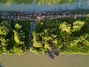 Thousands of new Rohingya refugee arrivals cross the border near Anzuman Para village, Palong Khali, Bangladesh.