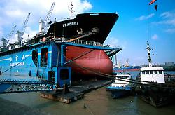 CHINA SHANGHAI NOV01 - A bulk freighter in a dry-dock at Shanghai Shipyards.. . jre/Photo by Jiri Rezac. . © Jiri Rezac 2001. . Contact: +44 (0) 7050 110 417. Mobile:  +44 (0) 7801 337 683. Office:  +44 (0) 20 8968 9635. . Email:   jiri@jirirezac.com. Web:     www.jirirezac.com