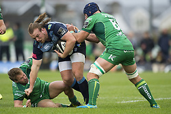 September 23, 2017 - Galway, Ireland - Kristian Dacey of Cardiff tackled by John Muldoon and Kieran Marmion of Connacht during the Guinness PRO14 Conference A match between Connacht Rugby and Cardiff Blues at the Sportsground in Galway, Ireland on September 23, 2017  (Credit Image: © Andrew Surma/NurPhoto via ZUMA Press)