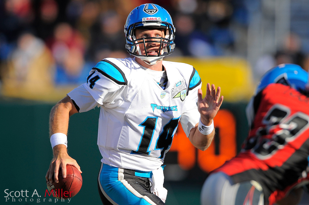 Florida Tuskers quarterback Chris Greisen (14) in action against the Las Vegas Locomotives during United Football League championship game at Rosenblatt Stadium on Nov. 27, 2010 in Omaha, Nebraska. Las Vegas won the game 23-20...©2010 Scott A. Miller