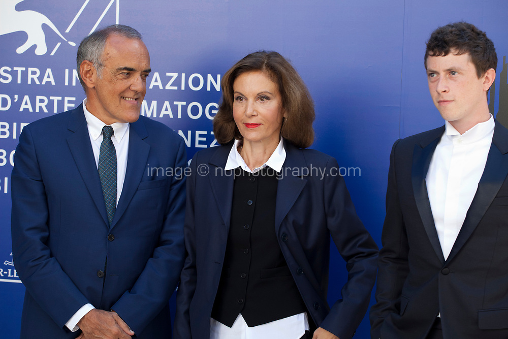 Festival director Alberto Barbera, Anne Fontaine and Finnegan Oldfield at the premiere of the film Marvin at the 74th Venice Film Festival, Sala Darsena on Sunday 3 September 2017, Venice Lido, Italy.