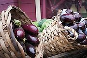 Turkey, Istanbul, Sultanahmet. Eggplants on display.