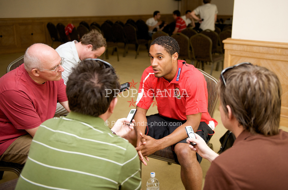 BAKU, AZERBAIJAN - Thursday, June 4, 2009: Wales' Ashley Williams during a media session at the Hyatt Hotel ahead of the 2010 FIFA World Cup Qualifying Group 4 match against Azerbaijan. (Pic by David Rawcliffe/Propaganda)