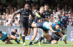 Durban. 030318. Tendai Mtawarira of the Cell C Sharks looks to stop Lalakai Foketi of the Waratahs  during the Super Rugby match between Cell C Sharks and Waratahs at Kings Park on March 03, 2018 in Durban, South Africa. Picture Leon Lestrade/African News Agency/ANA