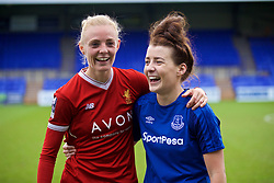BIRKENHEAD, ENGLAND - Sunday, April 29, 2018: Liverpool's Sophie Ingle and her Wales international team-mate Everton's Angharad James pictured after the FA Women's Super League 1 match between Liverpool FC Ladies and Everton FC Ladies at Prenton Park. (Pic by David Rawcliffe/Propaganda)