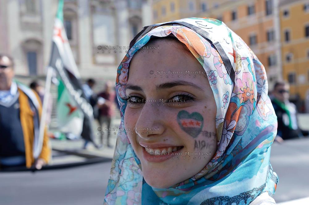 Roma 13 Aprile 2013.Manifestazione della comunità siriana  contro il Regime di Bashar al-Asad.Members of the Syrian community in Rome demonstrated against the.regime of  Syrian President Bashar al-Assad.Rome , Italy 13th of April  2013.