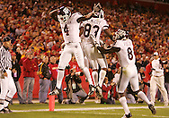 25 OCTOBER 2008: Texas A&M wide receiver Jamie McCoy (4) and Texas A&M wide receiver Terrence McCoy (83) celebrate a touchdown in the first half of an NCAA college football game between Iowa State and Texas A&M, at Jack Trice Stadium in Ames, Iowa on Saturday Oct. 25, 2008. Texas A&M beat Iowa State 49-35.