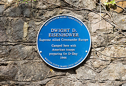 © Licensed to London News Pictures; 20/08/2020; Weston-super-Mare, UK. A plaque for former US President Dwight D. Eisenhower has been installed, with Weston's Mayor and Mayoress in attendance, in Weston Woods near the water tower to commemorate the time that he stayed the night nearby with US troops as Supreme Allied Commander in preparation for D-Day in World War Two. Dwight D Eisenhower is the only American President to have set foot in Weston-super-Mare. As Supreme Allied Commander Europe he arrived in Weston towards the close of World War Two and stayed one night in 1944, en-route to the D-Day landings. The town was filled with American servicemen. Officers were billeted in hotels whilst other ranks slept under canvass in Ellenborough Park. Far from throwing around his status 'Ike' opted to sleep in a caravan parked near the water tower in Weston Woods, in the midst of military vehicles huddled under tree cover and along the Toll Road. Following the war, Eisenhower became NATO's first Supreme Commander and then President of the United States from 1953 until 1961. Photo credit: Simon Chapman/LNP.