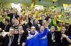 Gasper Marguc of Celje, Sebastian Skube of Celje, Dejan Peric with fans Celjski grofje celebrate after winning the  handball match between RK Celje Pivovarna Lasko and RK Gorenje Velenje in final of Slovenian Cup 2013, on March 3, 2013 in Arena Tri Lilije, Lasko, Slovenia. Celje PL defeated Gorenje Velenje 28-24 and became Slovenian Cup Champion 2013. (Photo By Vid Ponikvar / Sportida)