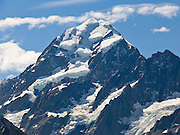 The peak of Aoraki / Mount Cook (3755 meters / 12,349 feet), in Aoraki / Mount Cook National Park, South Island, New Zealand. In 1990, UNESCO honored Te Wahipounamu - South West New Zealand as a World Heritage Area.