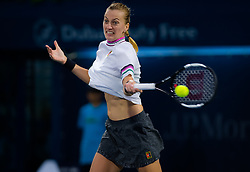 February 22, 2019 - Dubai, ARAB EMIRATES - PETRA KVITOVA of the Czech Republic in action during her semi-final match against Hsieh Su-wei at the 2019 Dubai Duty-Free Tennis Championships WTA Premier 5 tennis tournament. Kvitova won 3:6, 6:2, 6:4. (Credit Image: © AFP7 via ZUMA Wire)