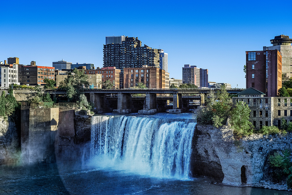 High Falls on the Genesee River running through downtown Rochester, New York, USA.