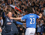 Rangers' assistant boss Ally McCoist celebrates with Christian Dailly at the final whistle of the Homecoming Scottish FA Cup Final between Falkirk and Rangers at Hampden Park (picture by David Young - 07765 252616)