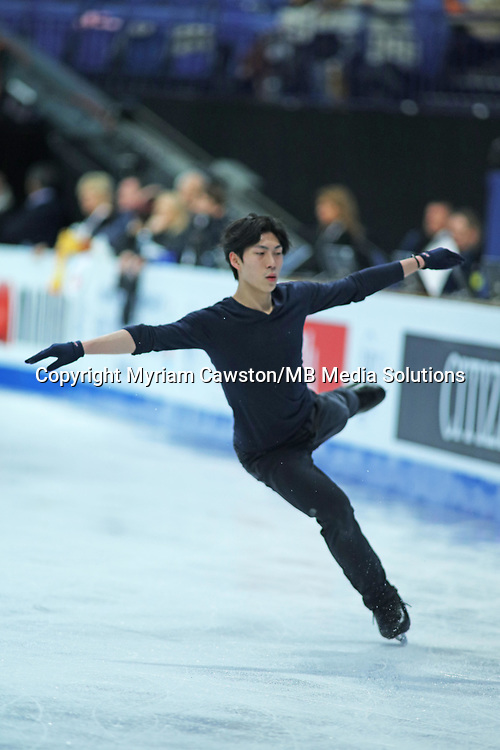 Helsinki, Finland - March 28<br />Figure Skater Keiji Tanaka, from Japan, during morning practice session at the main rink of the Harwall Arena ahead of the Figure Skating World Championships. (Photo by Myriam Cawston/MB Media Solutions)