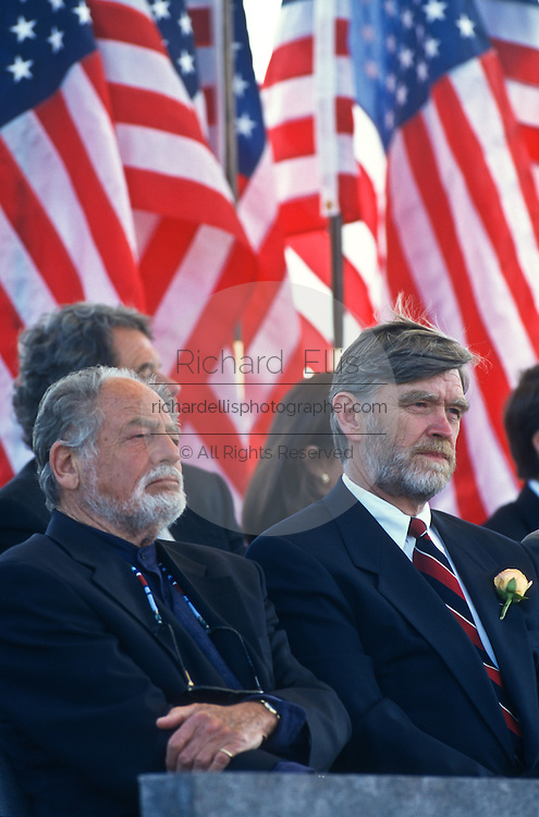 David Roosevelt (right), grandson of Franklin Delano Roosevelt sits with Lawrence Halprin, designer of the FDR memorial during the opening ceremony May 2, 1997 in Washington, DC. The memorial to the US 32nd president spreads across four granite-walled outdoor rooms along a 7.5 acre-swath of West Potomac Park.