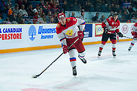 KAMLOOPS, CANADA - NOVEMBER 5:  Kanitsky, Evgeny #11 of Team Russia takes a shot during first period against the Team WHL on November 5, 2018 at Sandman Centre in Kamloops, British Columbia, Canada.  (Photo by Marissa Baecker/Shoot the Breeze)