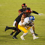 21 October 2016: The San Diego State Aztecs football team takes on the San Jose State Spartans Friday night at Qualcomm Stadium. San Diego State defensive end Dakota Turner (41) sacks San Jose State quarterback Kenny Potter (5) in the third quarter. The Aztecs beat the Spartans 42-3 to extend there home win streak. www.sdsuaztecphotos.com