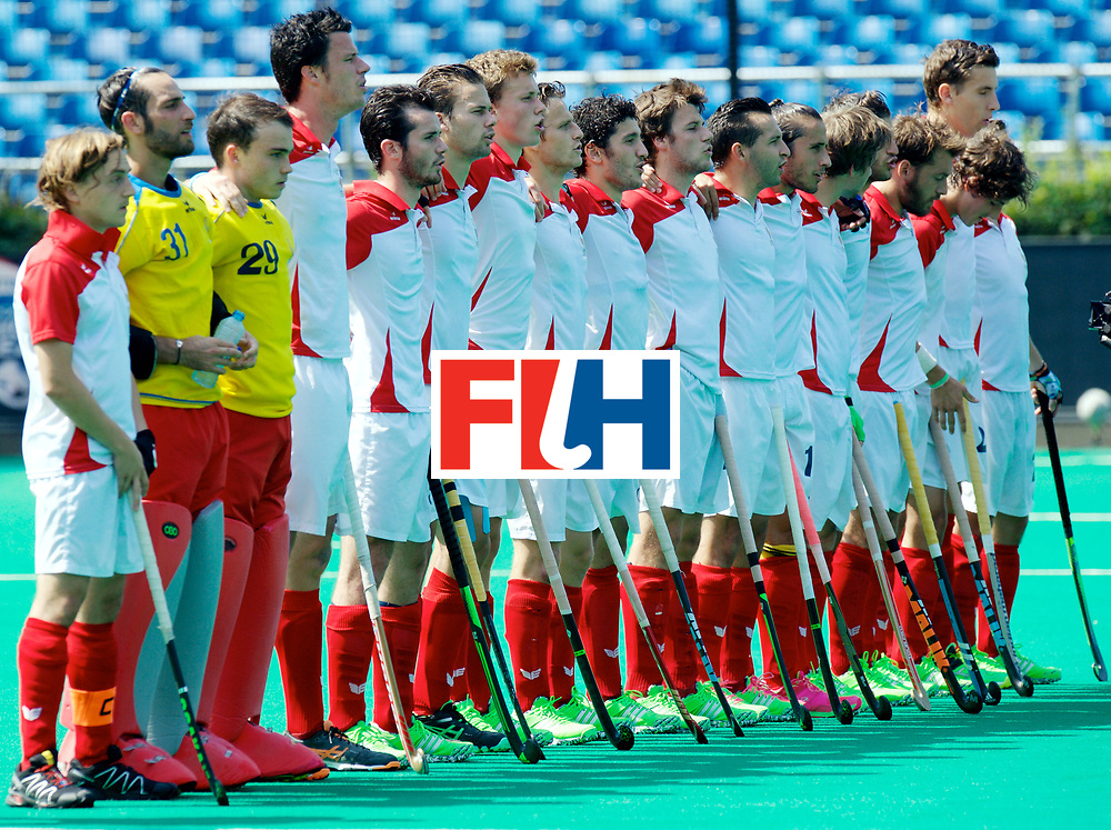 ANTWERP - Hockey World League Semi Final W &amp; M<br /> 27 MAS v FRA (5th - 8th)<br /> foto: France Line-up.<br /> PRESS AGENCY COPYRIGHT FRANK UIJLENBROEK