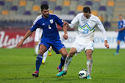 Players during football match between National teams of Slovenia and Cyprus in 3rd Round of Group E of FIFA World Cup 2014 Qualification on October 12, 2012 in Stadium Ljudski vrt, Maribor, Slovenia. (Photo by Gregor Krajncic / Sportida)