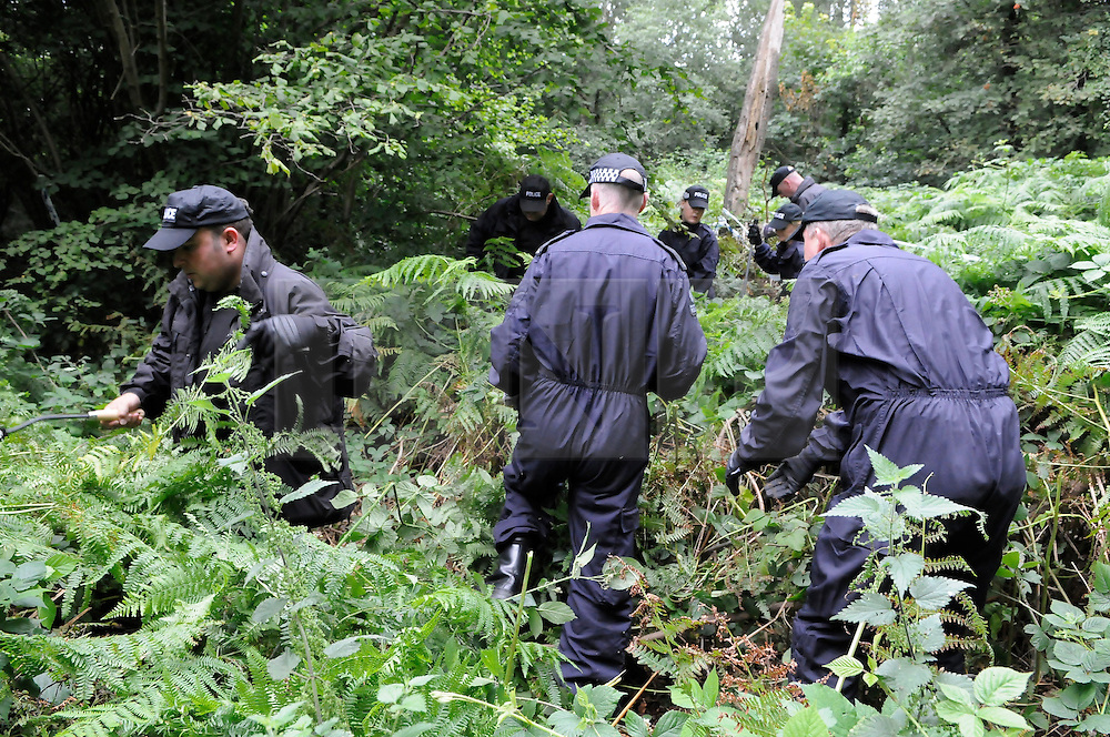 © Licensed to London News Pictures. 08/08/2012 . Police search teams searching Birchwoods in New Addington near Croydon for 12 year old Tia Sharp who has been missing since Friday last week. Photo credit : Grant Falvey/LNP