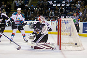 KELOWNA, CANADA - MARCH 10:  Carsen Twarynski #18 of the Kelowna Rockets, David Tendeck #30 of the Vancouver Giants at the Kelowna Rockets game on March 10, 2017 at Prospera Place in Kelowna, British Columbia, Canada.  (Photo By Cindy Rogers/Nyasa Photography,  *** Local Caption ***