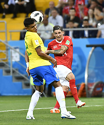 ROSTOV-ON-DON, June 17, 2018  Steven Zuber (R) of Switzerland vies with Thiago Silva of Brazil during a group E match between Brazil and Switzerland at the 2018 FIFA World Cup in Rostov-on-Don, Russia, June 17, 2018. The match ended in a 1-1 draw. (Credit Image: © Chen Yichen/Xinhua via ZUMA Wire)