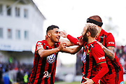 SUNDSVALL, SWEDEN - MAY 19: Hosam Aiesh of Ostersunds FK and Curtis Edwards of Ostersunds FK celebrates after 0-1 during the Allsvenskan match between GIF Sundsvall and Ostersunds FK at Idrottsparken on May 19, 2018 in Sundsvall, Sweden. Photo: Nils Petter Nilsson/Ombrello ***BETALBILD***